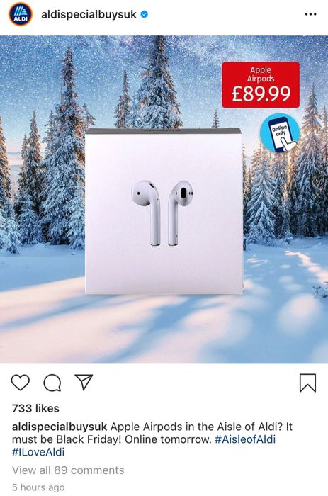 Apple Airpods Only £89:99 at Aldi for Black Friday