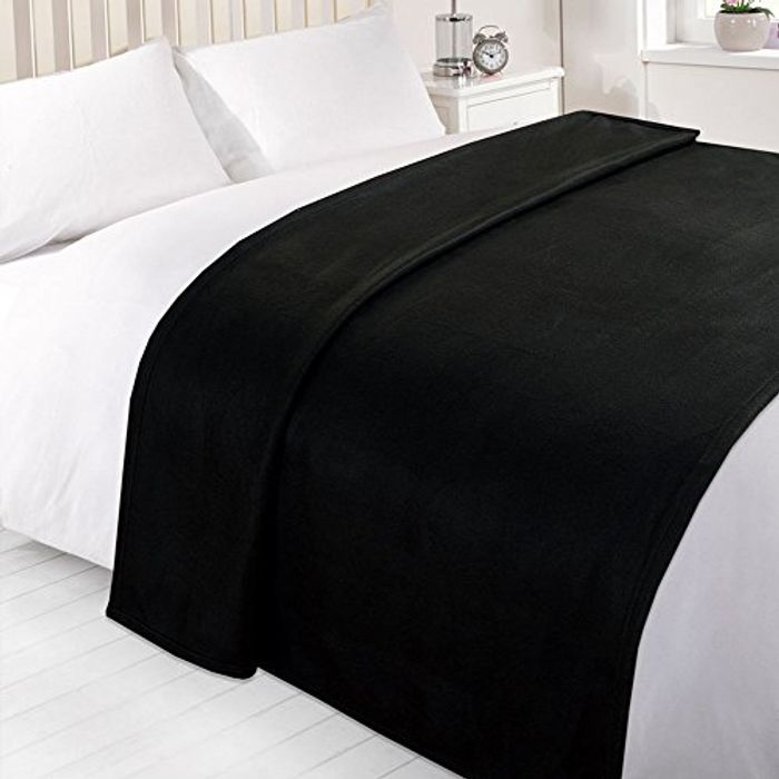 Black Warm Polar Fleece Throw (120 x 150 cm)