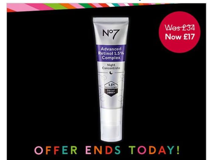 Black Friday 1/2 Price On No7 Advanced Retinol 1.5% Complex Night Concentrate