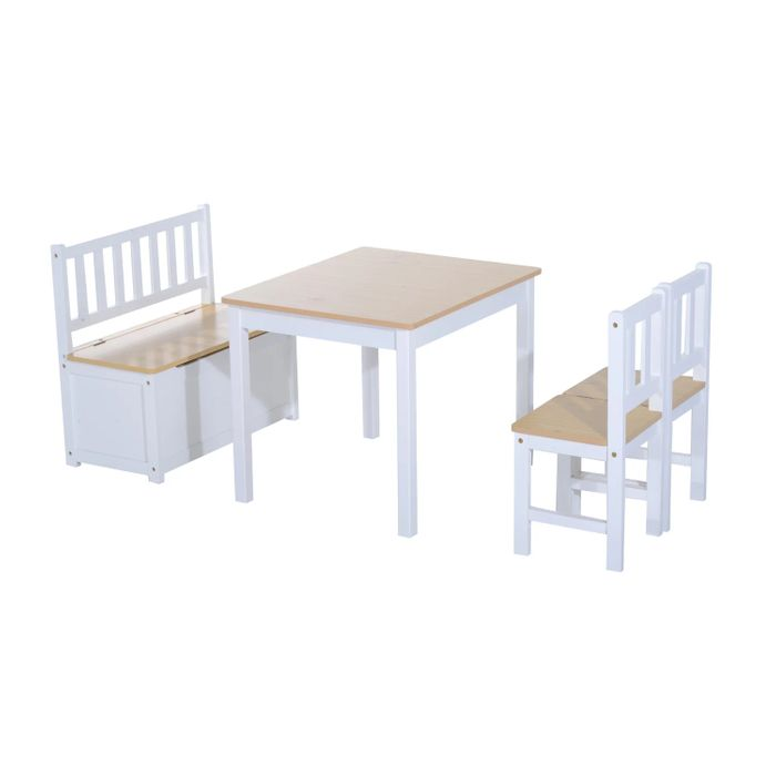 HOMCOM Pine Wood Kids 4 Pc Furniture Set-Oak/White - Only £58.79!