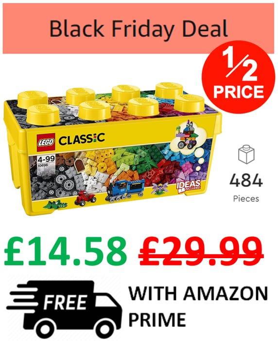 1/2 PRICE! LEGO CLASSIC Medium Creative Brick Box (10696) - 484 Pieces