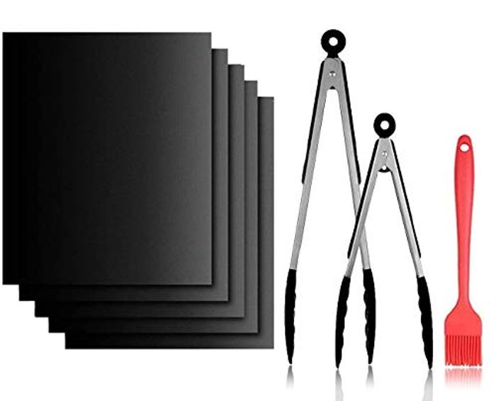 Prime Only Deal!2 Cooking Tongs Sets, 5 BBQ Grill Mats & 1 Silicone Brush