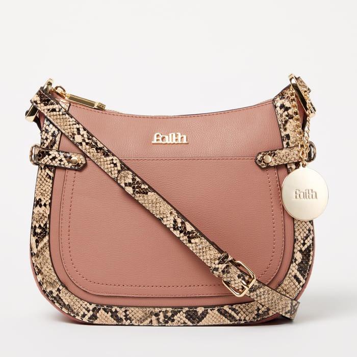 Faith - Pink Faux Leather 'Jamaica' Snake Trim Crossbody Bag