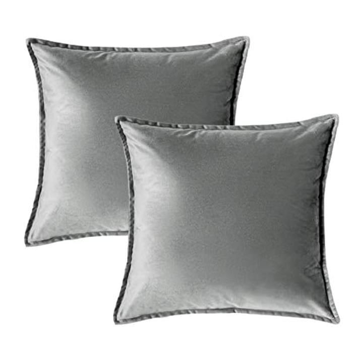 DEAL STACK - Bedsure Velvet Cushion Cover 2 Pack Grey Decorative Pillowcases