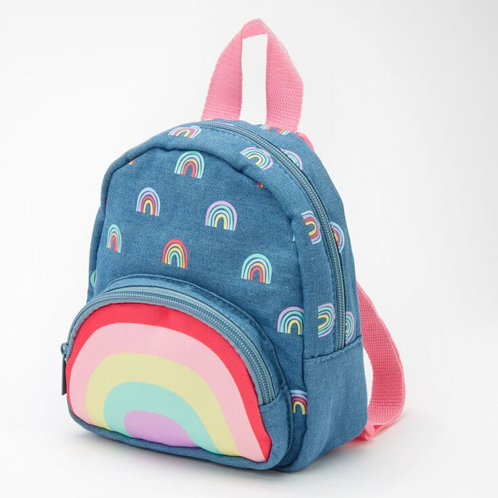 Claire's Club Hello Sunshine Small Denim Backpack - Blue