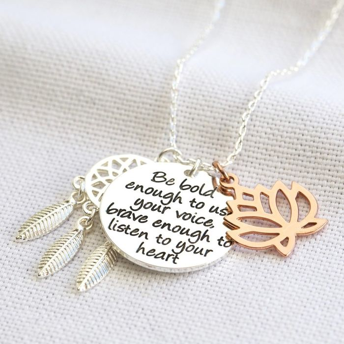 Be Bold, Be Brave' Quote Necklace