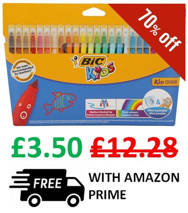 Cheap Price! 24 BIC Kids Couleur Felt Tip Colouring Pens *4.8 STARS* (Minimum 2)