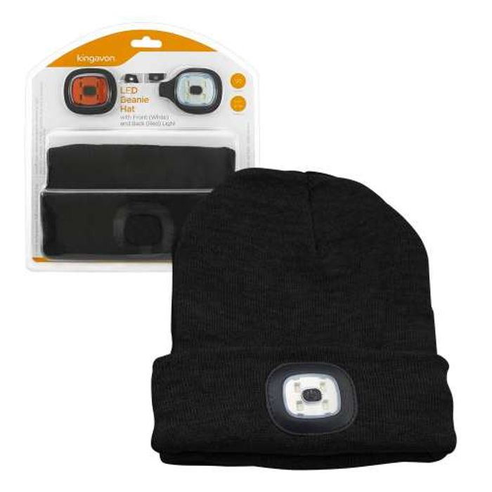 Kingavon Beanie Hat with USB Rechargeable LED Headlight & Safety Rear Light