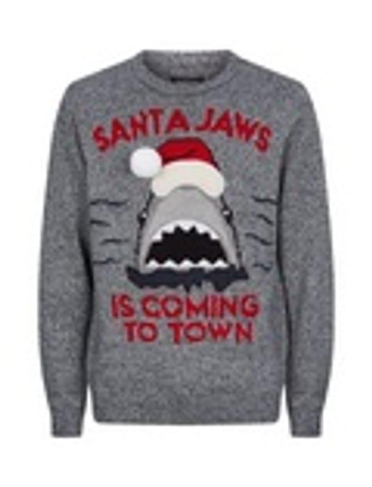 Grey Santa Jaws Crew Jumper