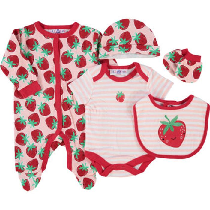Pink Strawberry Print All in One Set