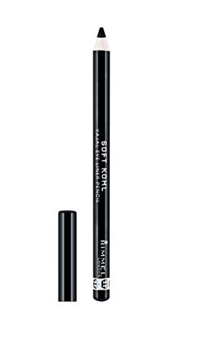 Rimmel London Soft Kohl Eyeliner Pencil, Jet Black, 1.2g