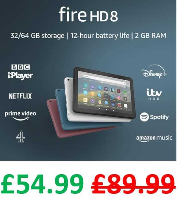 £35 OFF! Fire HD8 Tablet, 32 GB - ALL COLOURS