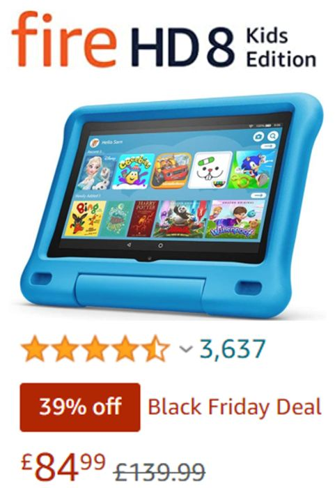 SAVE £55 - Fire HD 8 Kids Edition Tablet - ALL COLOURS