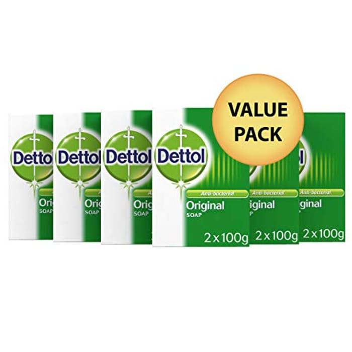 Lightning Deal! Dettol Original Anti-Bacterial Soap 100g- 12 Soaps Pack