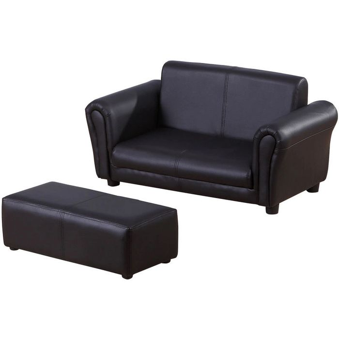 EXPIRED-HOMCOM 2 Seater Kids Twin Sofa Double Seat Chair Armchair W/ Footstool -
