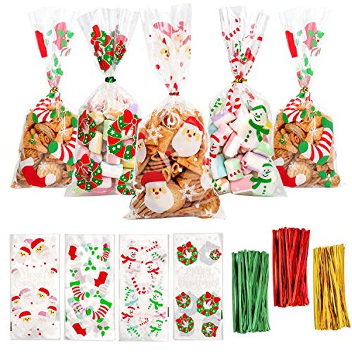 120 Pieces Christmas Candy Cookie Bags