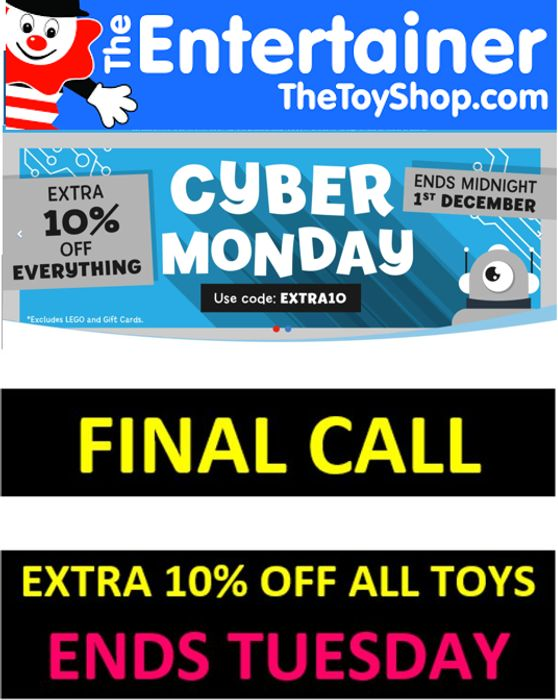 The Entertainer - FINAL CALL - EXTRA 10% OFF ALL TOYS - ENDS TUESDAY!