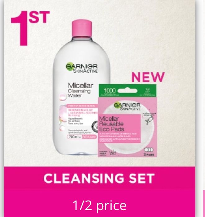 Garnier Micellar Water & Reusable Eco Pads Cleansing Bundle