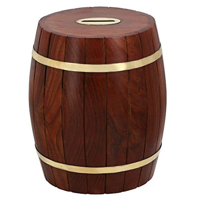 Wood Carved Money Box Handmade by Artisan