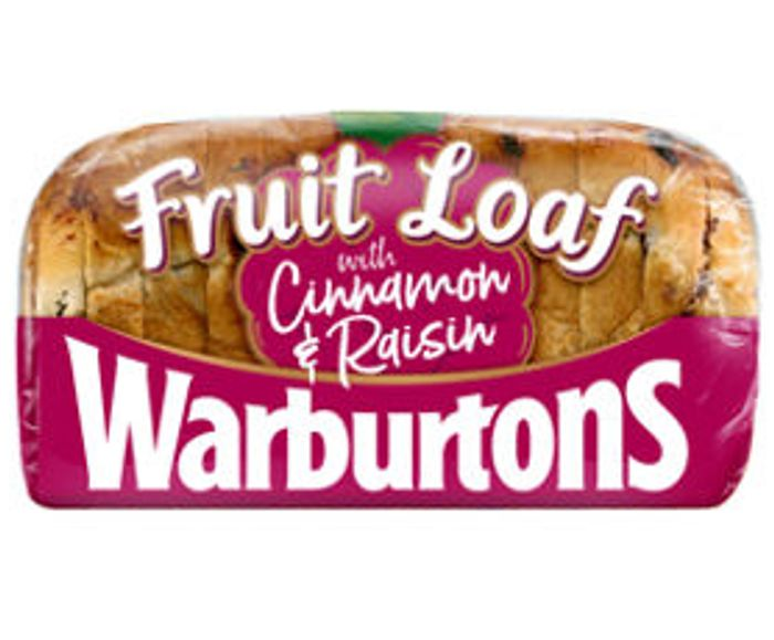 Warburtons Fruit Loaf with Cinnamon & Raisin - Only £1!