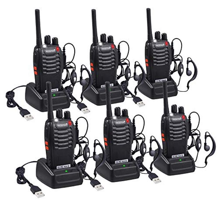 Save 60%! Rechargeable Walkie Talkies 16 Channels with Earpiece- 3 Pairs