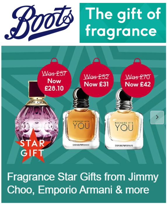 Special offer - Boots 1/2 PRICE FRAGRANCE DEALS - STAR CHRISTMAS GIFTS