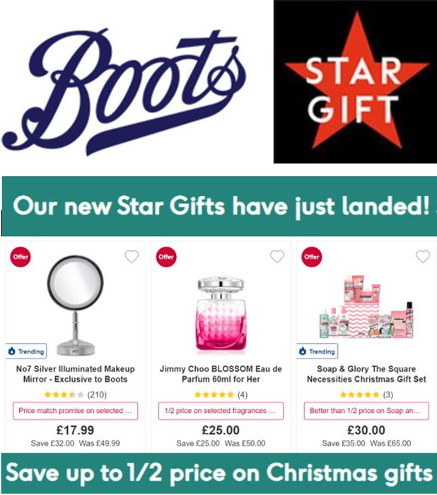 Special Offer - 75+ Boots Star Gifts - HALF PRICE & BETTER - Christmas Gifts