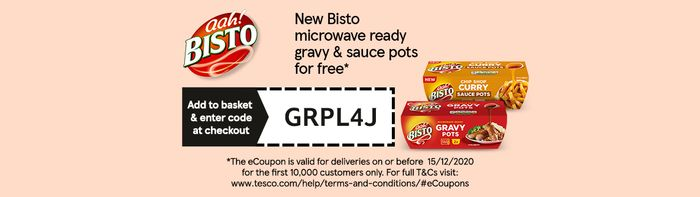 Free Bisto Microwave Gravy/sauce Pots with Code at Tesco