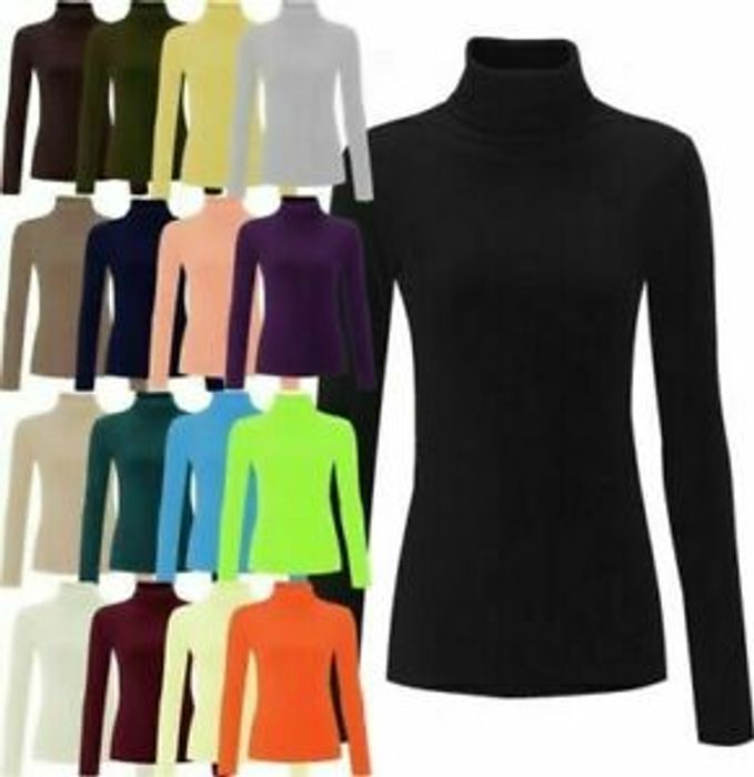 Womens Ladies High Roll Polo Neck Knitted Ribbed Jumper Sweater Top UK