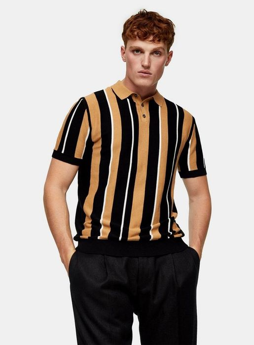 Black and Camel Stripe Knitted Polo