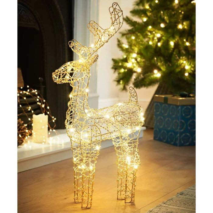 Deco Shimmer Pre-Lit Wire Reindeer 46cm - Champagne