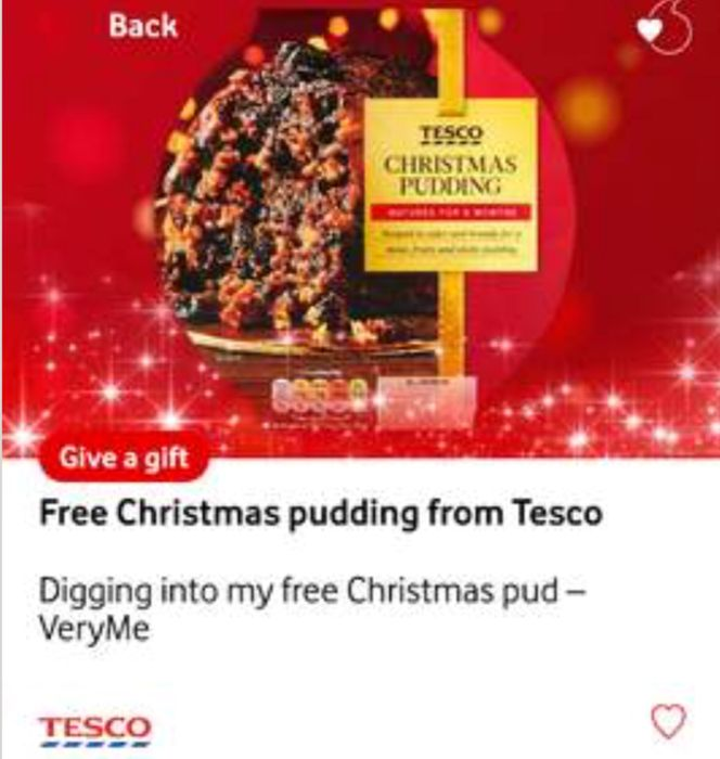 Free Tesco Christmas Pudding (£4 Giftcard) for Vodafone VeryMe Rewards