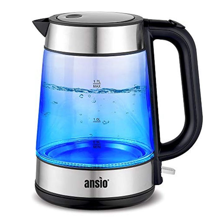 ANSIO Electric Kettle 2200W 1.7L Cordless, Glass Kettle