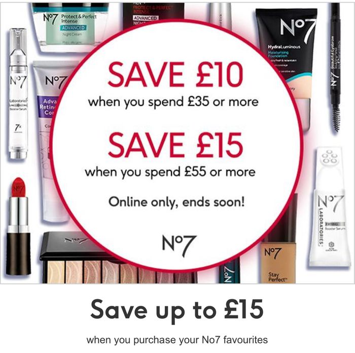 Save £10 When You Spend £35 and save £15 When You Spend £55 on Selected No7