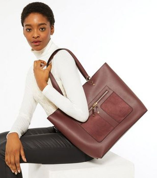 Burgundy Leather Look Tote Bag, Only £10.00!
