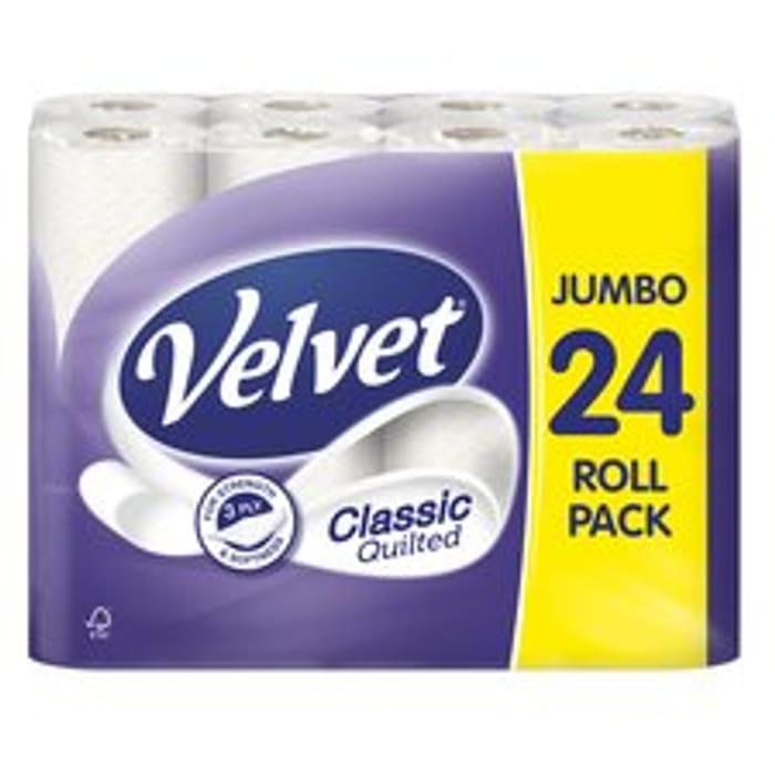 Velvet Classic Quilted Jumbo 3 Ply Toilet Rolls 24 Pack
