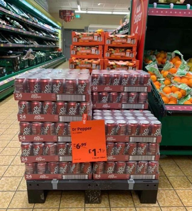 24cans of Dr. Pepper for £1.19 at Aldi Sunderland