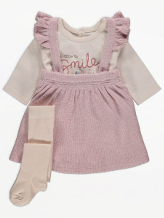 Slogan Bodysuit Pinafore Dress and Tights Outfit