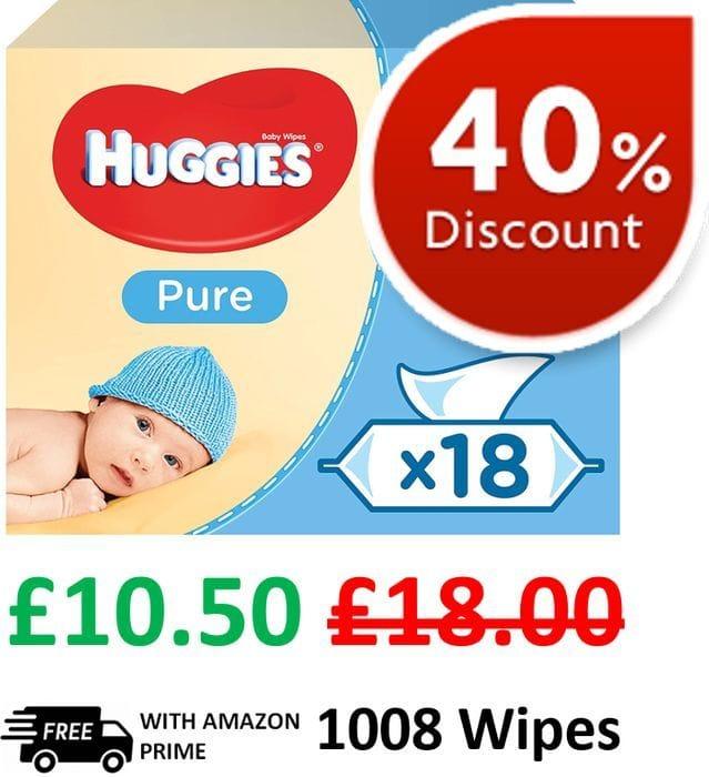 Huggies Pure Baby Wipes (18 Packs, 1008 Baby Wipes)