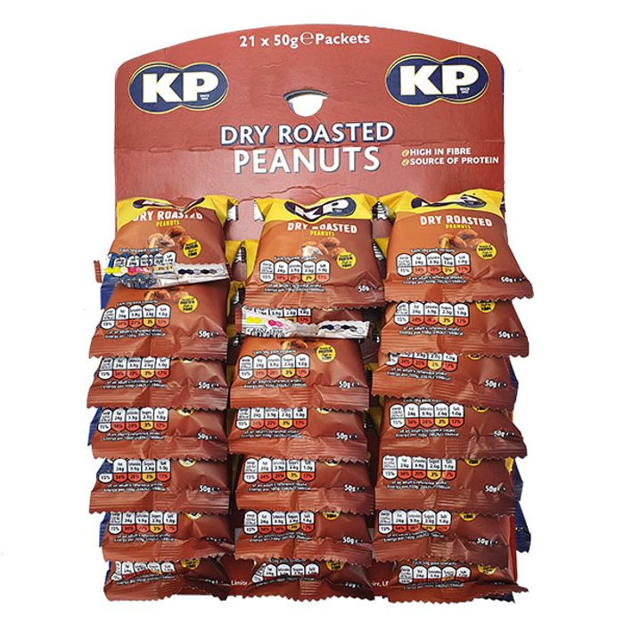 21 X KP DRY ROASTED PEANUTS 50G PACKET OR ORIGINAL SALTED..