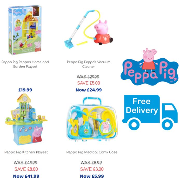 24 Peppa Pig Toys - FROM £4.99 + FREE DELIVERY