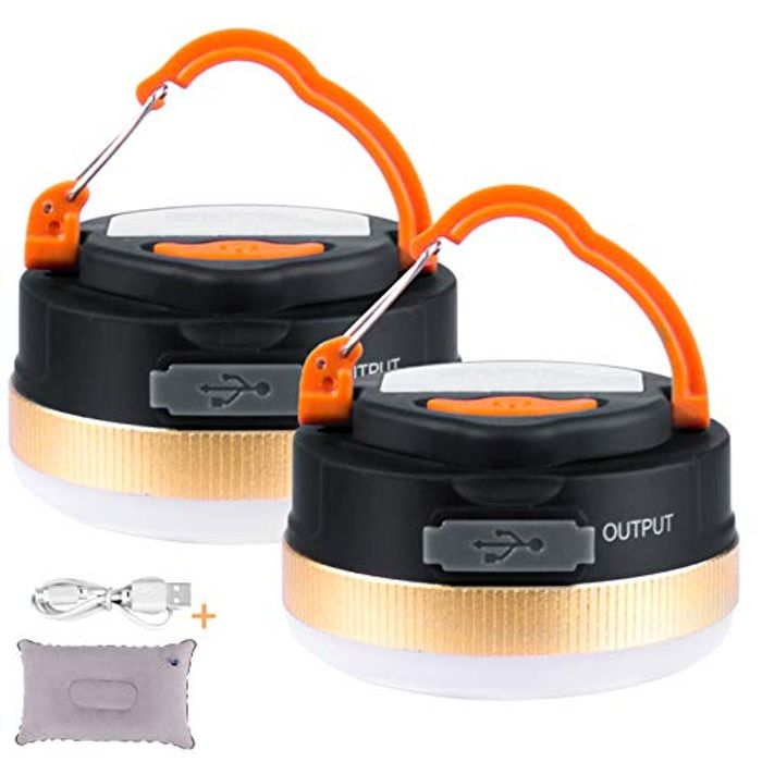 2 Pack Camping Lanterns - USB Rechargeable + Travel Pillow