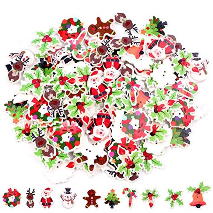 100 Pcs Assorted Christmas Buttons