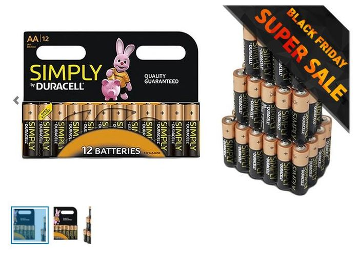 CHEAP! Duracell AA or AAA Batteries - Pack of 4, 8, 12, 24, 36 or 60