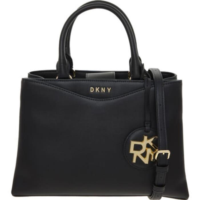DKNY Black Logo Leather Shoulder Bag