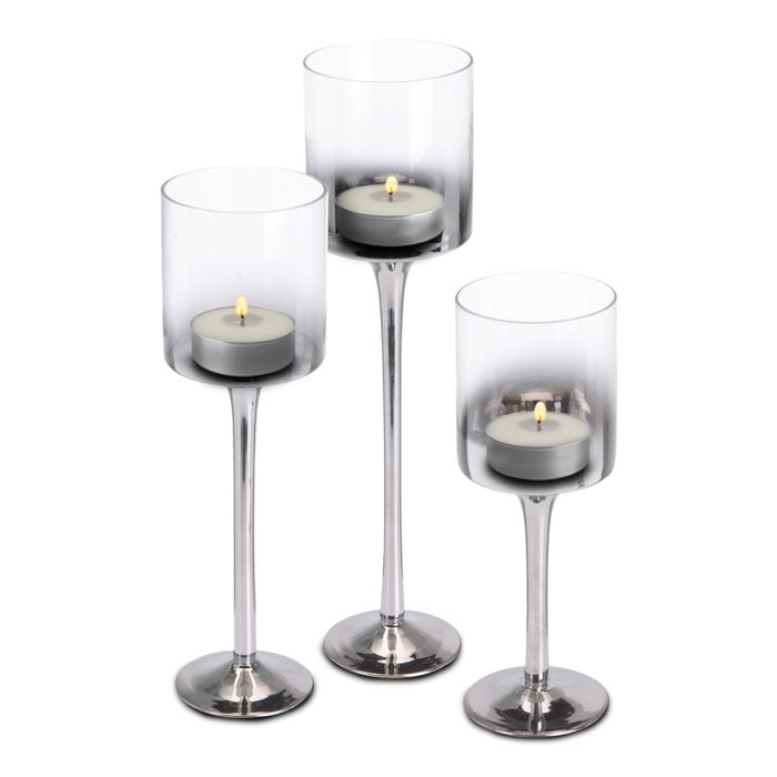 Set of 3 Smoked Silver Glass Table Candle Holders