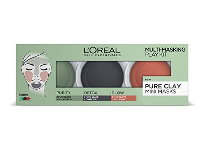 L'Oral 3 Pure Clays Multi-Masking Face Mask Play Kit, 3 X 10ml