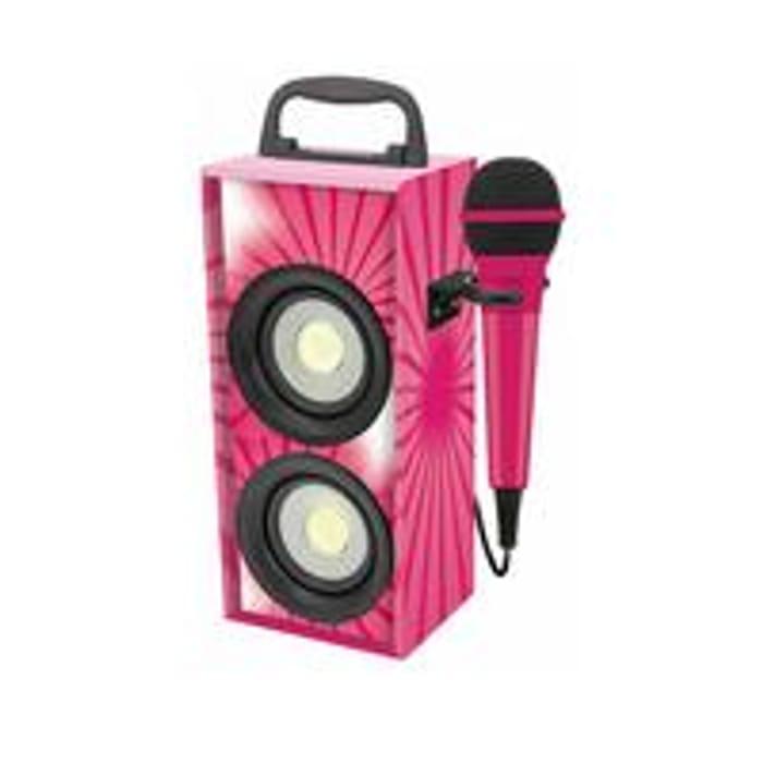 Mini Bluetooth Karaoke Tower with Microphone - Pink