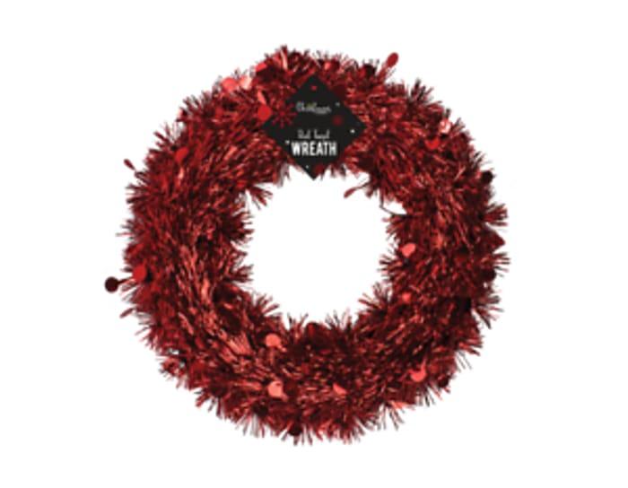 Red Tinsel Christmas Wreath 28cm