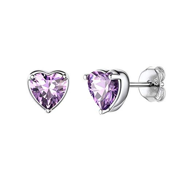 925 Sterling Silver Heart Stud Earrings (Various Colours)